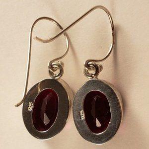 New SS & Genuine Garnet Necklace Earrings Set